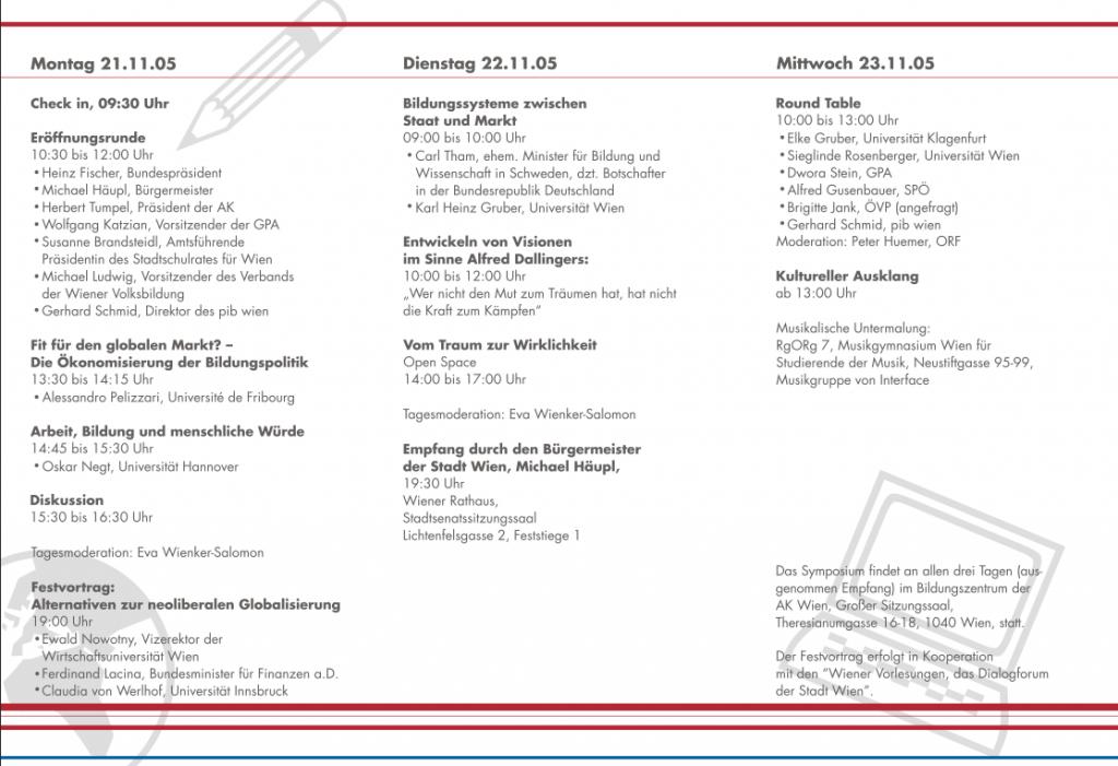 Das Programm des 2. Alfred Dallinger Symposiums 2005