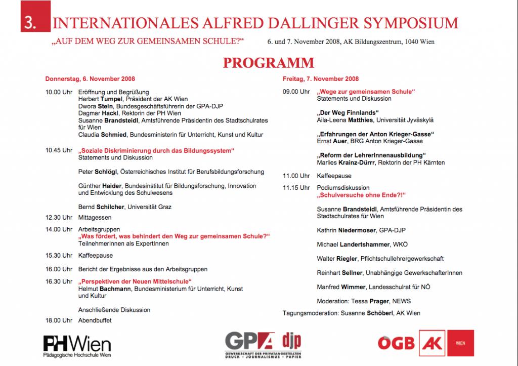 Das Programm des 3. Alfred Dallinger Symposiums 2008